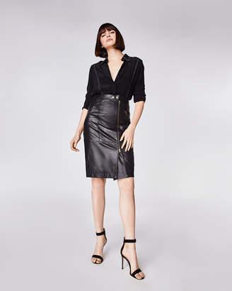 2902f2ab1 ... Nicole Miller Leather Moto Skirt