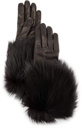 Neiman Marcus Mario Portolano Napa Leather Gloves w/Fur Trim