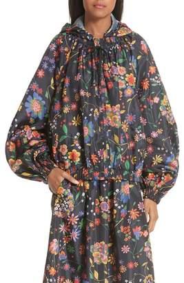 Tibi Print Tech Floral Detachable Hood Water Repellent Jacket