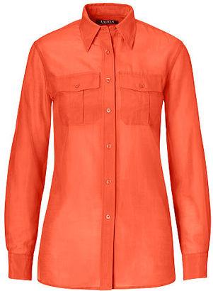Ralph Lauren Lauren Cotton-Silk Voile Shirt $79.50 thestylecure.com