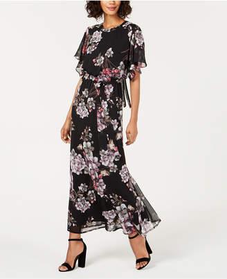 Nine West Printed Flutter Capelet Maxi Dress