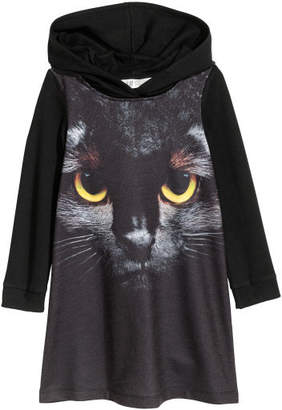 H&M Hooded Sweatshirt Dress - Black