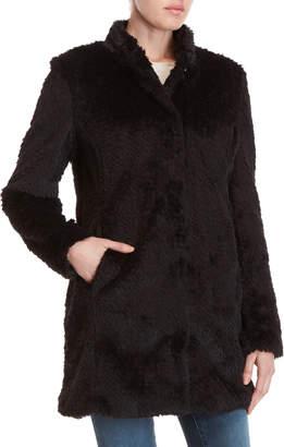 Kenneth Cole Black Faux Fur Coat