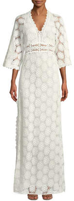 BA&SH Lorr V-Neck Crochet Lace Maxi Dress