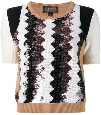 Giambattista Valli cashmere sequinned chevron top
