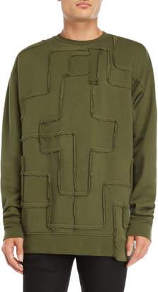 Marcelo Burlon County of Milan Green Pieced Crew Neck Fleece Sweatshirt