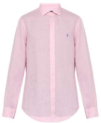 Polo Ralph Lauren Logo Embroidered Spread Collar Linen Shirt - Mens - Pink