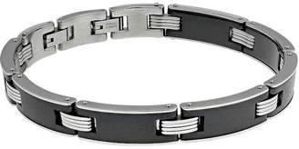 FINE JEWELRY Mens Stainless Steel and Black Ceramic Link Bracelet