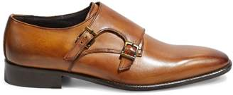Black Brown 1826 Made In Italy Desi Monk Strap Leather Oxfords