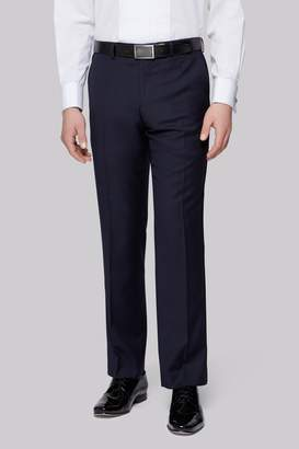 Moss Bros Tailored Fit Navy Textured Dress Trousers