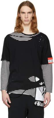 Miharayasuhiro Black and White Striped Damaged Layer T-Shirt