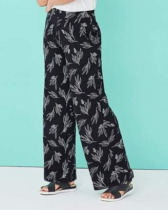 Fashion World Floral Wide Leg Jersey Trousers Reg
