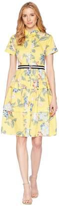 Donna Morgan Printed Cotton Poplin Shirtdress Women's Dress