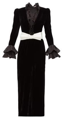 Alessandra Rich Ruffled Silk Organza And Velvet Dress - Womens - Black White
