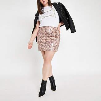53ea8ae2d7 River Island Womens Plus Pink faux leather snake print mini skir