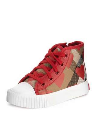 Burberry Warslow Heart-Print Check High-Top Sneaker, Infant $210 thestylecure.com