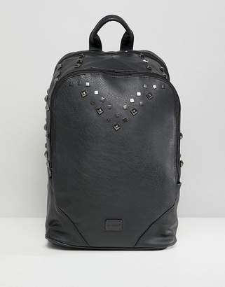 Spiral Balmoral Backpack in Faux Leather with Studs