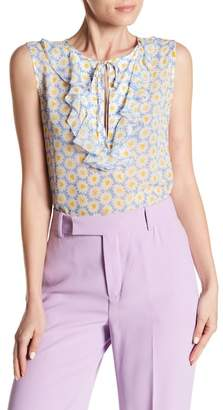 Love Moschino Floral Print Ruffle Blouse