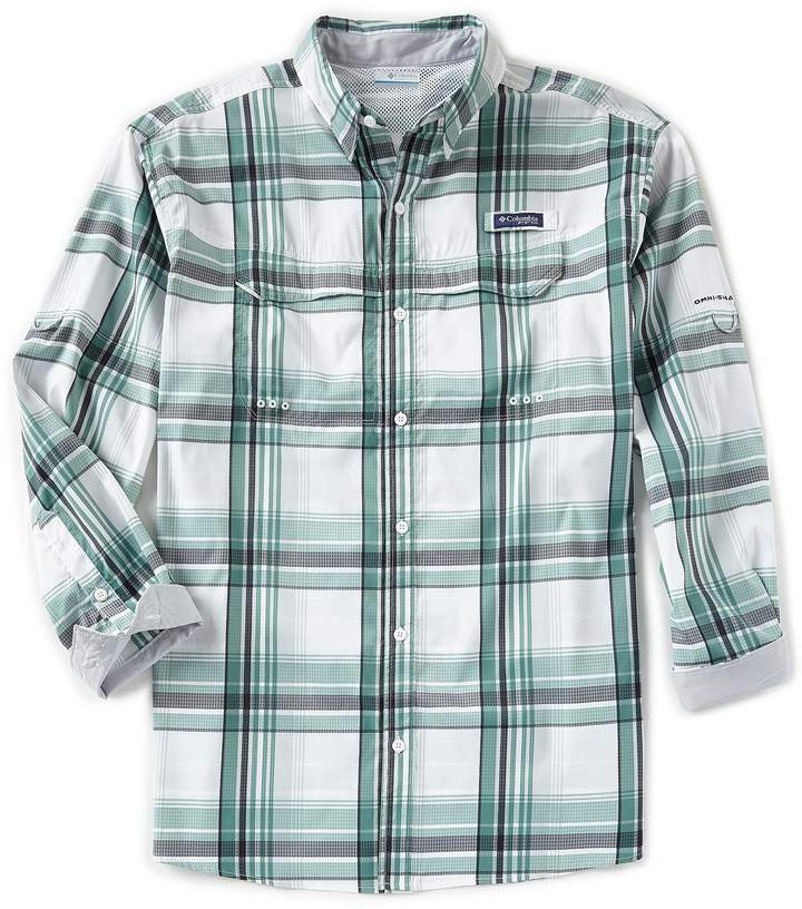 Columbia PFG Super Low Drag Large Plaid Long-Sleeve Woven Shirt