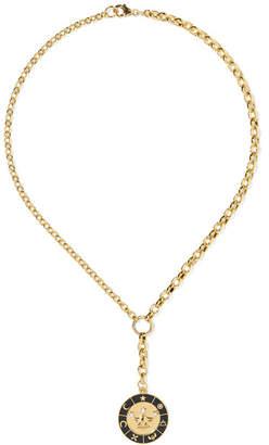 Foundrae Crown 18-karat Gold, Diamond And Enamel Necklace