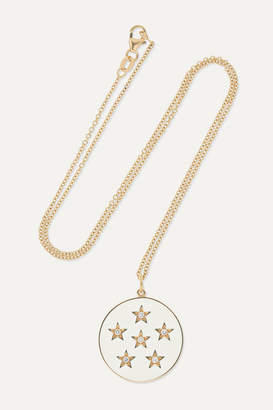 Andrea Fohrman New/ Full Moon 18-karat Gold, Enamel And Diamond Necklace