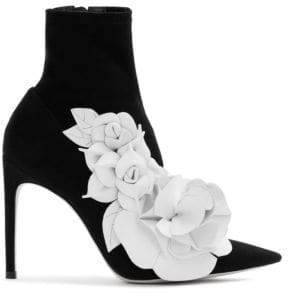 Sophia Webster Jumbo Lilico Floral Applique Suede Ankle Boots