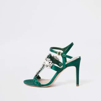 River Island Womens Green barely there jewel embellished sandals