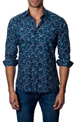 Jared Lang Floral Print Trim Fit Sport Shirt