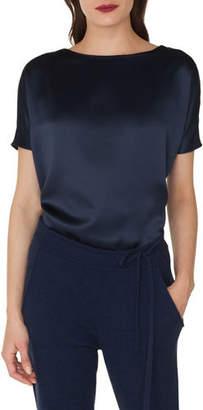 Akris Cap-Sleeve Silk Satin Tunic Blouse