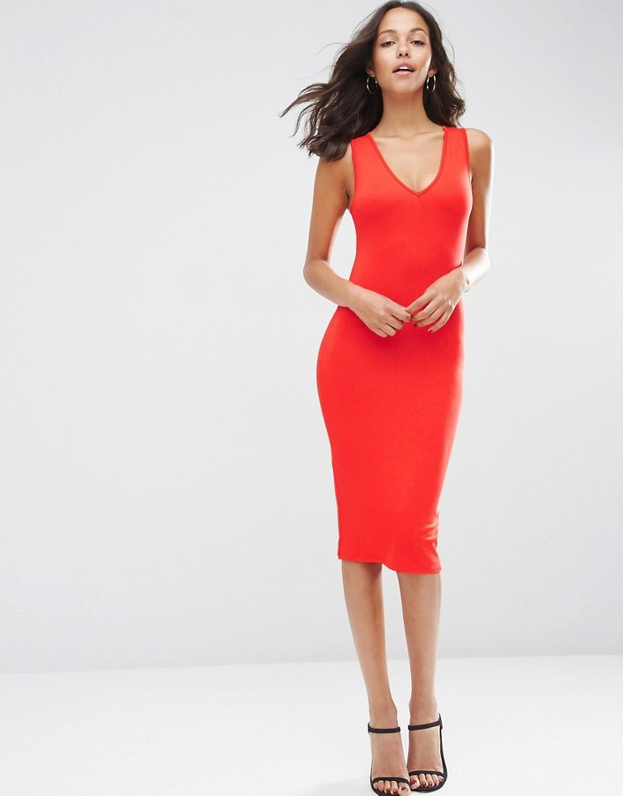 V label red dress asos gladiator