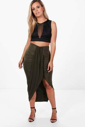 boohoo Plus Ruched Wrap Front Maxi Skirt
