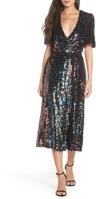 ML Monique Lhuillier Multicolor Sequin Wrap Dress