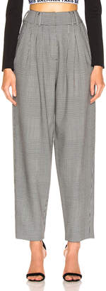 Balmain High Waisted Check Trousers in Black & White | FWRD