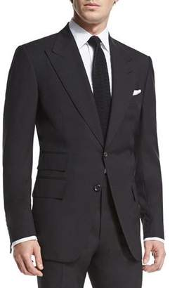 TOM FORD Windsor Base Peak-Lapel Two-Piece Suit, Black $3,850 thestylecure.com