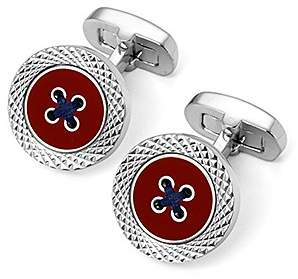 Aspinal of London Sterling Silver Plated Engraved Edge Button Cufflinks In Red Enamel