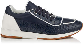 Jimmy Choo JETT Navy and White Sport Calf Low Top Trainers with Crocodile Print Brushed Leather