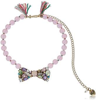 Betsey Johnson Sweet Shop Mixed -Colored Stone Bow Beaded Necklace
