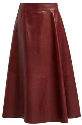 Bottega Veneta Panelled Leather Skirt - Womens - Burgundy