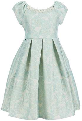 Bonnie Jean Easter Girls Jacquard Fall Holiday Special Occasion Dress, (, Gold/Mint)