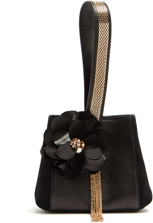 Lanvin LANVIN Flower-appliqué leather and suede clutch