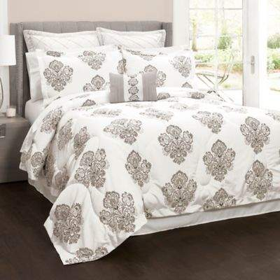 Lush Décor Elizabeth Damask 6-Piece Full/Queen Comforter Set in Grey