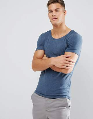Asos Extreme Muscle Fit Scoop Neck T-Shirt In Blue