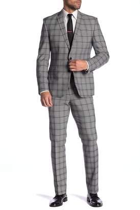 Nick Graham Purple Plaid Stretch Modern Fit Two Button Notch Lapel Suit