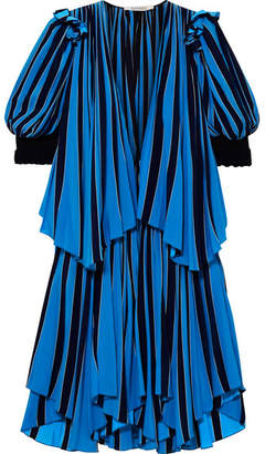 Givenchy Layered Striped Cotton-crepe Dress - Blue