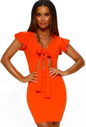 f43420dbe9bc Pink Boutique Holiday Romance Orange Tie Front Mini Dress