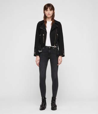 AllSaints Grace Cropped Zip Skinny Jeans