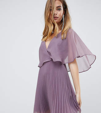 Asos DESIGN Petite flutter sleeve mini dress with pleat skirt