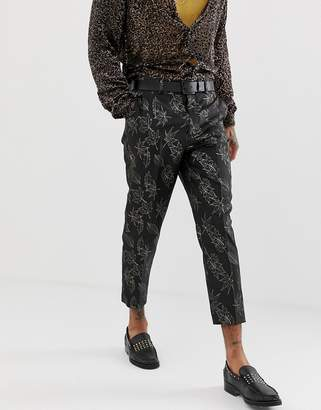 Asos EDITION slim suit pants in gold and black floral jacquard