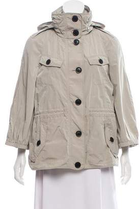 Burberry Hooded Button Up Jacket