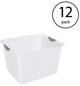 clear Sterilite Deep Ultra Plastic Storage Bin Organizer Basket, White (12 Pack)